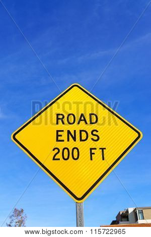 Yellow Road Ends Ahead Sign