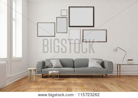 Many empty frames hanging over the sofa in a living room (3D Rendering)