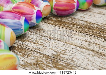 Colorful easter eggs laying on old wood (3D Rendering)