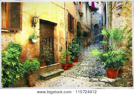 pictorial old streets of Italian villages, artistic picture