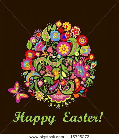 Easter card with decorative floral egg