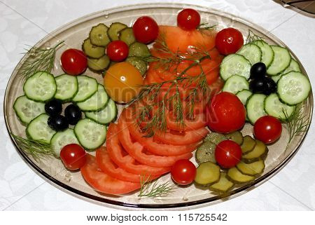 Vegetables On A Dish.