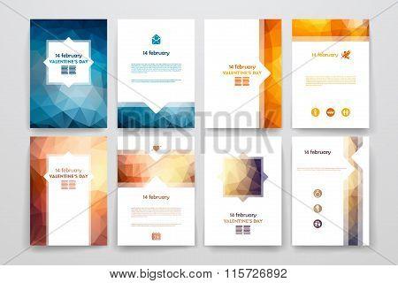 Set of brochures in poligonal style on Valentineys Day theme