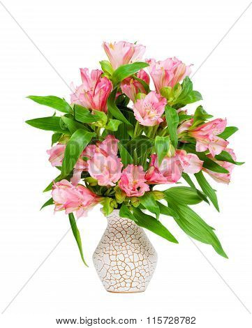 Bouquet Of Pink Alstroemeria In Vase