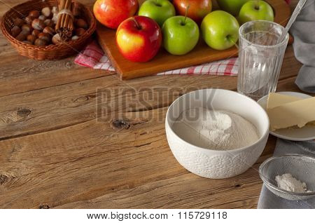 Flour With Ingredients For Cooking With Flour And Apples