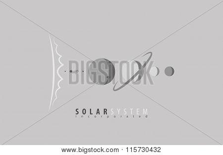 Solar System. Sun. Planets. Universe. Space. Science logo. Sun logo