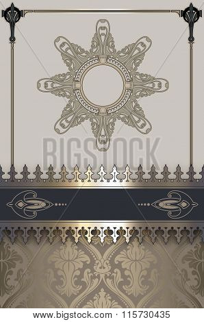 Vintage Background With Frame And Decorative Border.