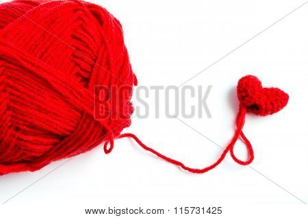Red Heart Crochet With Yarn On White Background