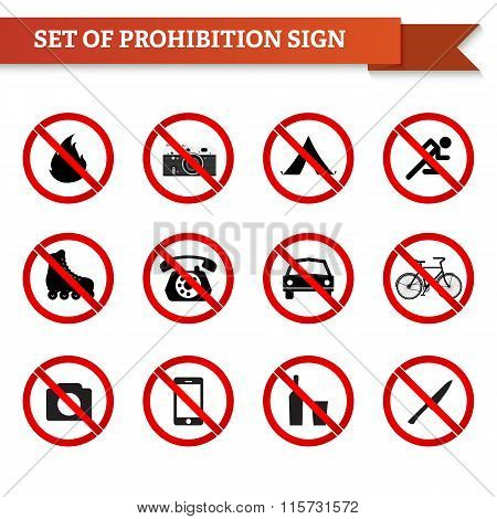 Set Of Prohibition Signs In Red Circle
