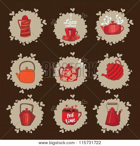 Set Of Teapots And Mugs