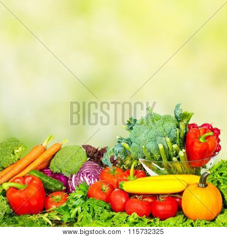 Vegetables and fruits over green background.