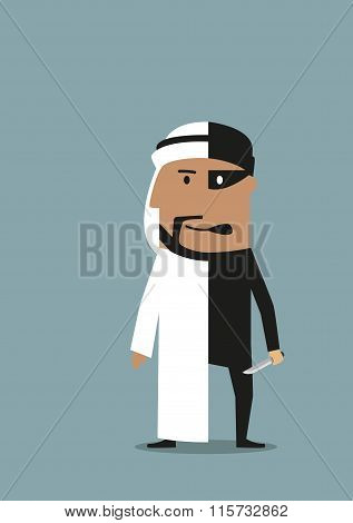 Businessman and robber are in one arab man
