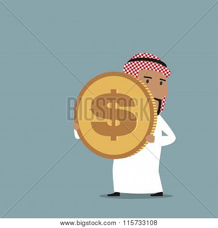 Arabian businessman carrying a golden dollar coin