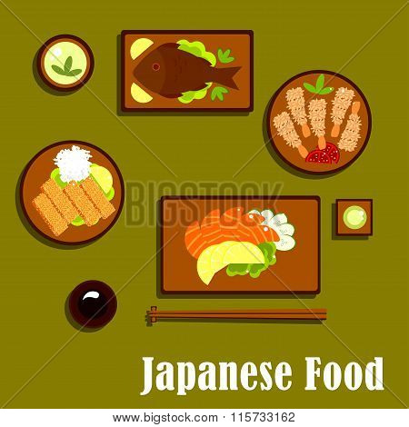 Japanese traditional seafood cuisine icons