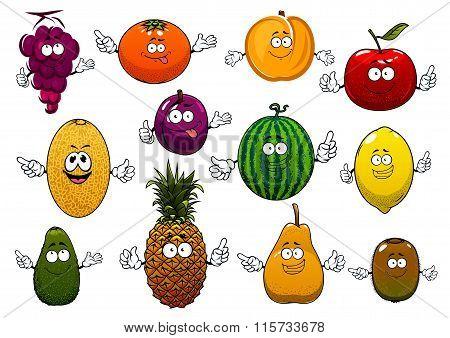 Happy ripe and fresh cartoon fruits
