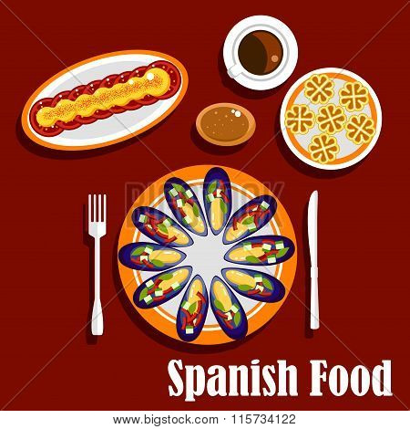 Traditional spanish seafood dishes and drinks