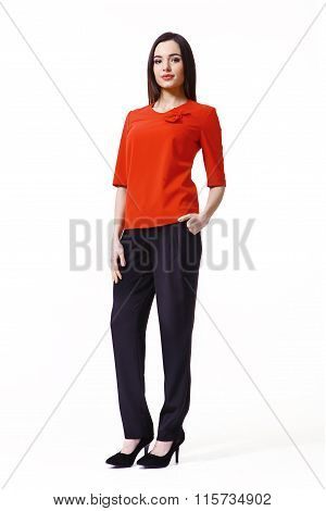Asian Fashion Model Girl In Official Clothes