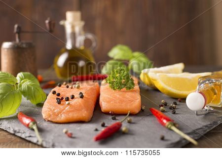 Portions Of Fresh Salmon Fillets