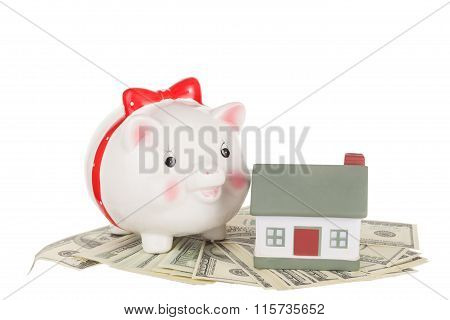 Pig Moneybox, Cash And House. Concept Of Accumulation Of Money For Purchase Or Rent