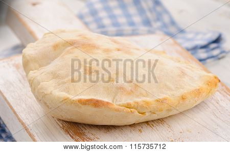 Homemade Pita Bread On A White Wooden Board.
