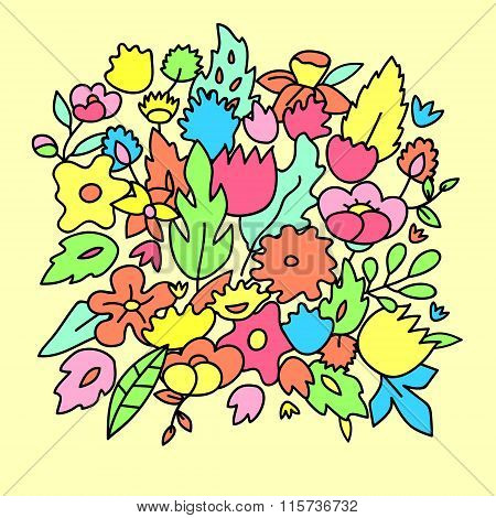 Childish cute pastel colored flowers, vector template