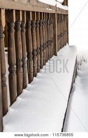 Railing Veranda Under The Snow