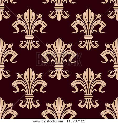 Fleur-de-lis seamless pattern of victorian lilies