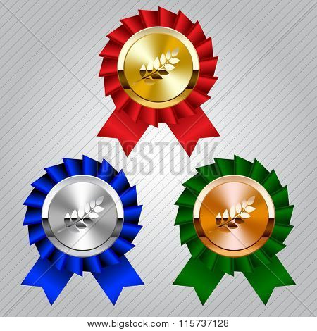 Gold, silver and bronze medals with laurel wreaths and ribbons. Vector illustration