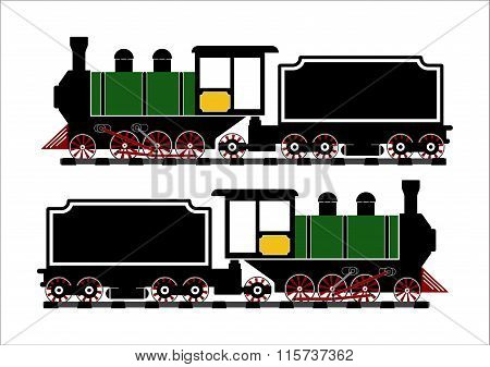 Vintage Steam Engine Locomotive Train Truck On Railroad Track Isolated On White Background.vector Il