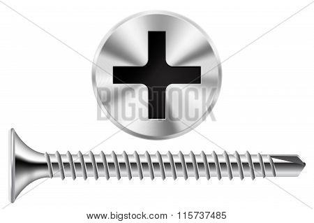Screw And Screw Head. Chrome Screw For Metal.