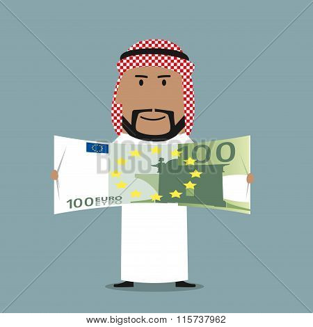 Arabian businessman with one hundred euro bill
