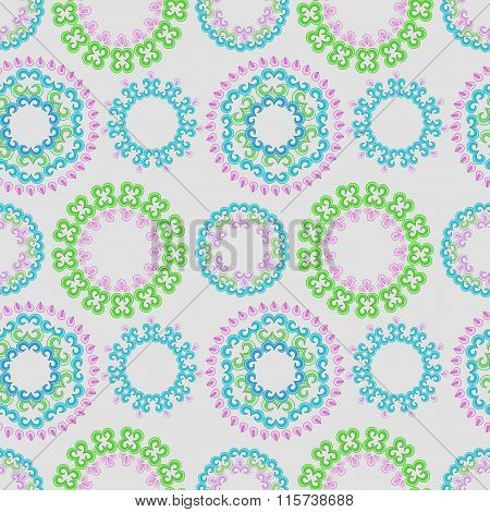 Vector seamless pattern with bright floral ornament. Vintage design element in Eastern style.