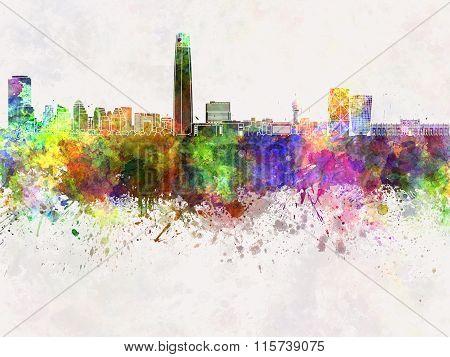 Santiago De Chile Skyline In Watercolor Background