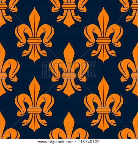 Seamless victorian orange fleur-de-lis pattern