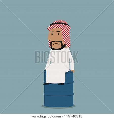 Sad arabian businessman on the oil tank