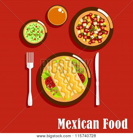 Mexican cuisine with enchiladas and sauces