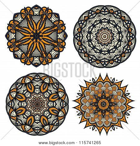 Circular patterns of abstract floral ornaments
