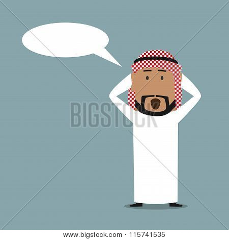 Surprised arabian businessman with speech bubble