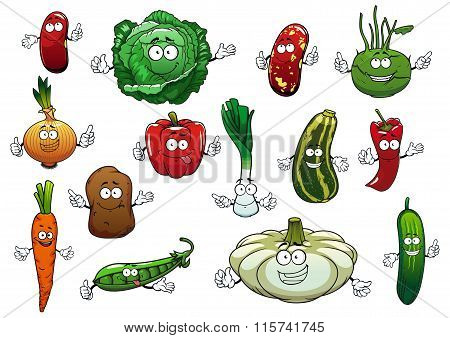 Happy cartoon fresh vegetables characters