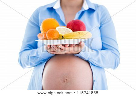Pregnancy And Nutrition Diet - Pregnant Woman With Fruits Isolated On White Background