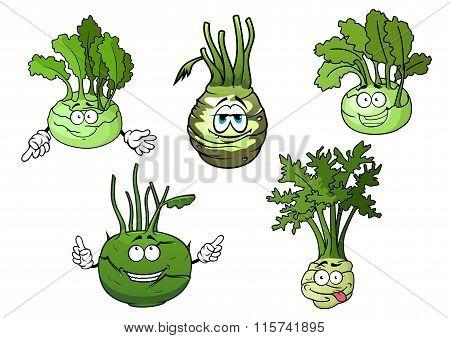 Kohlrabi cabbage vegetables cartoon characters