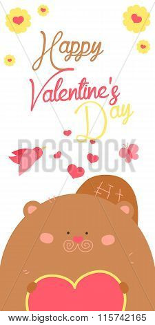 Happy Valentines Day invitation with cute Beaver