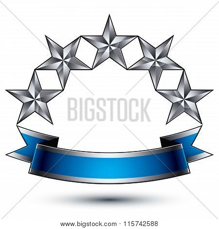 Heraldic Vector Template With Five-pointed Silver Stars, Dimensional Royal Geometric Medallion With