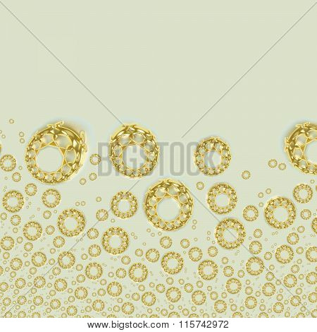 Golden ornaments on beige copy space