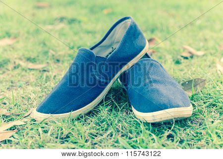 Shoes On Green Summer Grass In Park