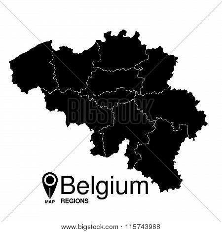 Regions map of Belgium