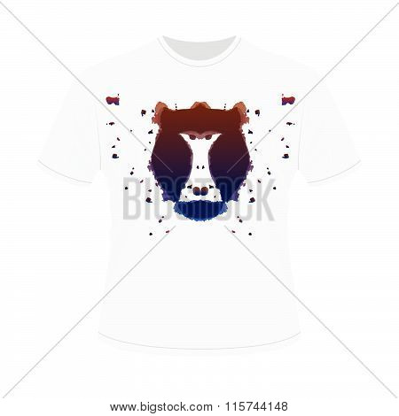 White T-shirt With Black Aggressive Head Of Baboon, Monkey In Style Of Rorschach Test