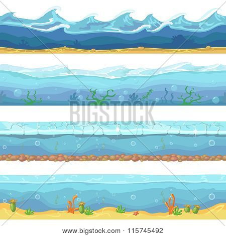 Water waves or ocean, sea seamless backgrounds set for ui game design in cartoon style. Graphic Inte