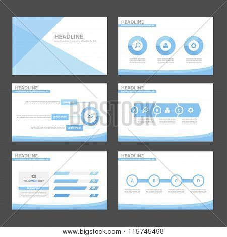 Blue presentation templates Infographic elements flat design set