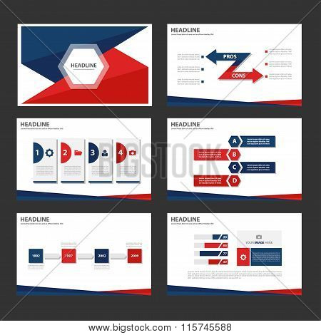 Blue Red presentation templates Infographic elements flat design set